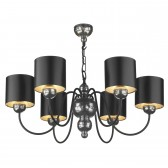Garbo 6 light Pendant - Pewter c/w Black and Silver Shade