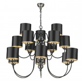 Garbo 15 light Pendant - Pewter c/w Black and Silver Shade