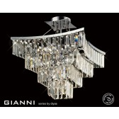 Diyas Gianni Semi Ceiling 5 Light Polished Chrome/Crystal