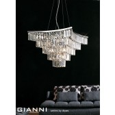Diyas Gianni Pendant 9 Light Polished Chrome/Crystal