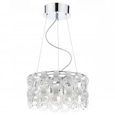 Hoop Ceiling Pendant Light - 9 Light, Polished Chrome and White