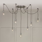 Huckleberry 7 Light Cluster Pendant Lead Grey