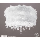 Diyas Ibis Ceiling 3 Light Polished Chrome/Crystal With White Feather Shade