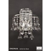 Diyas Inina Wall Lamp 2 Light Polished Chrome/Crystal Switched
