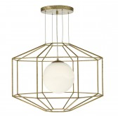 Izmir 1 Light Pendant Hexagonal Gold Effect Opal Glass