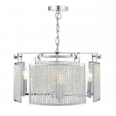 Jabin 4 Light Pendant Beaded Panels Polished Chrome