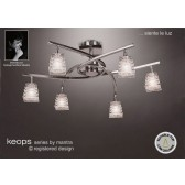 Keops Semi Ceiling 6 Lights Satin Nickel