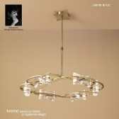 Kromo Pendant Round 6 Light Antique Brass
