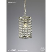 Diyas Kudo Crystal Cylinder Shade Antique Brass Non-Electric