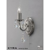 Diyas Kyra Wall Lamp 1 Light Satin Nickel/Crystal Switched