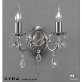 Diyas Kyra Wall Lamp 2 Light Satin Nickel/Crystal Switched