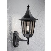 Franklite Exterior Boulevard (Up) Wall Lantern - Matt Black, Cast Aluminium, Smoked Glass, IP43