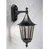 Franklite Boulevard Wall Lantern (Down) - Matt Black, Cast Aluminium, IP43, Smoked Glass