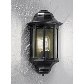 Franklite Boulevard Flush Wall Lantern - Matt Black, Smoked Polycarbonate, IP43