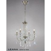 Diyas Leana Pendant 4 Light Satin Nickel/Crystal