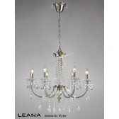 Diyas Leana Pendant 6 Light Satin Nickel/Crystal