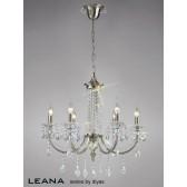 Diyas Leana Pendant 6 Light Satin Nickel/Crystal