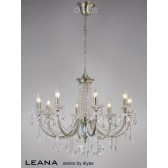 Diyas Leana Pendant 8 Light Satin Nickel/Crystal