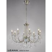 Diyas Leana Pendant 8 Light Satin Nickel/Crystal