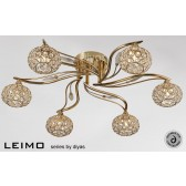Diyas Leimo Ceiling 6 Light French Gold/Crystal