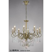 Diyas Libra Pendant 8 Light Antique Brass/Crystal