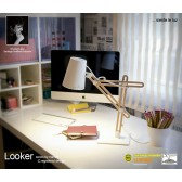 Looker Table Lamp 1 Light White/Beech