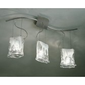 Murano Hanging Ceiling Light - 3 Light, Grey, White Alabaster