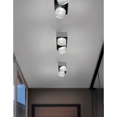O-Optikal Square Double Ceiling Light - 2 Light, Metallic Nickel