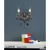 Diyas Luna Crystal Wall 2 Light Black Chrome