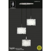 Lupin Pendant 3 Light Round Polished Chrome/White