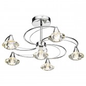 Luther 6 Light Semi Flush Ceiling Light - Polished Chrome