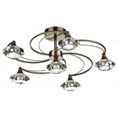 Luther 6 Light Semi Flush - Antique Brass