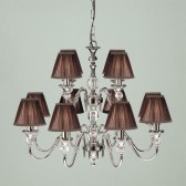 Interiors1900 Polina Nickel 12-Light, Chocolate Shade
