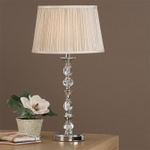 Interiors1900 Polina Nickel Small Table Lamp, Beige Shade