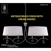 Mara Pendant Bar 4 Light Antique Brass/Cream