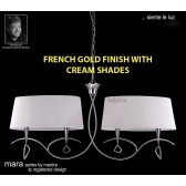 Mara Pendant Bar 4 Light French Gold/Cream