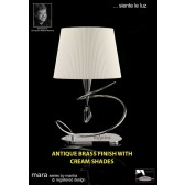 Mara Table Lamp Big 1 Light Antique Brass/Cream
