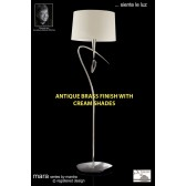 Mara Floor Lamp 1 Light Antique Brass/Cream
