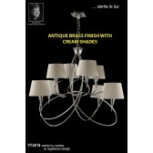 Mara Pendant 8 Light Antique Brass/Cream