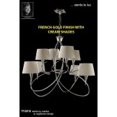Mara Pendant 8 Light French Gold/Cream