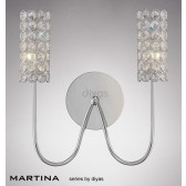 Diyas Martina 2 Light Wall Bracket Chrome/Crystal