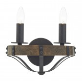 Dar Minstrel 2-Light Wall Light Natural Wood Effect