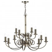 Murray Dual Mount Ceiling Pendant - 12 Light, Antique Brass