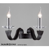 Diyas Nardini Wall 2 Light Polished Chrome/Black Faux Leather/Crystal