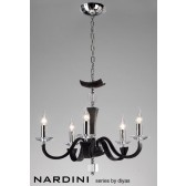 Diyas Nardini Pendant 5 Light Polished Chrome/Black Faux Leather/Crystal