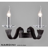 Diyas Nardini Wall 2 Light Polished Chrome/Dark Brown Faux Leather/Crystal