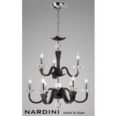Diyas Nardini Pendant 9 Light Polished Chrome dark Brown Faux Leather/Crystal