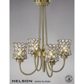 Diyas Nelson 4 Light Semi-Flush Antique Brass/Crystal