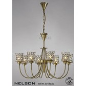 Diyas Nelson 8 Light Pendant Antique Brass/Crystal
