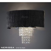 Diyas Nerissa Wall Lamp 2 Light Polished Chrome/Crystal With Black Shade
